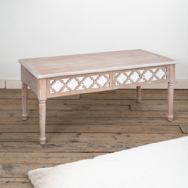 Wood Lattice Mirrored Coffee Table