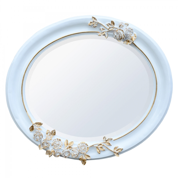 Antique Style White and Gold Oval Bevelled Decorative Wall Bedroom Mirror