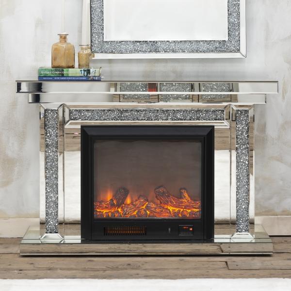 VenetianCrushed Diamond Mirrored Fireplace - EXTRA PACKING