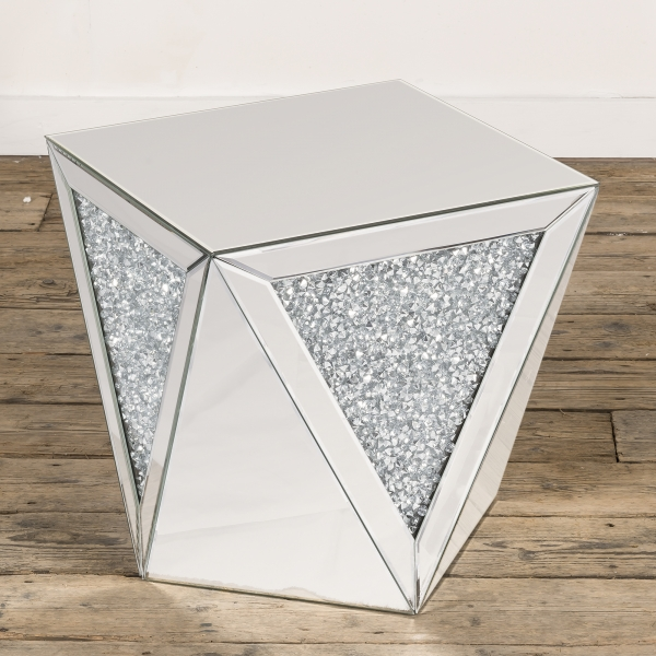 Crushed Diamond Mirrored Occasional Side Table