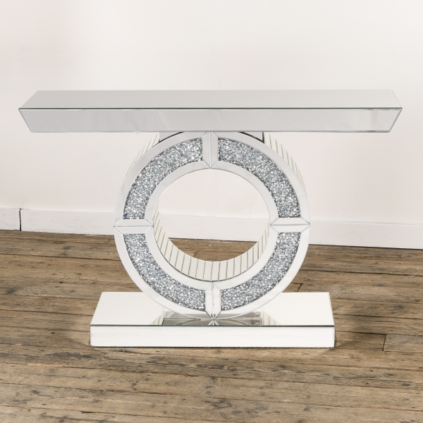 Crushed Diamond Mirrored Console Table