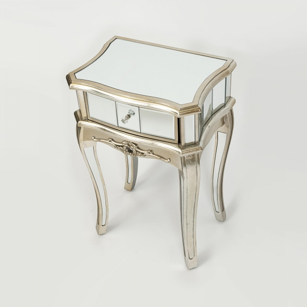 Annabelle Mirrored Bedside Table - Champagne Silver Gilt Leaf