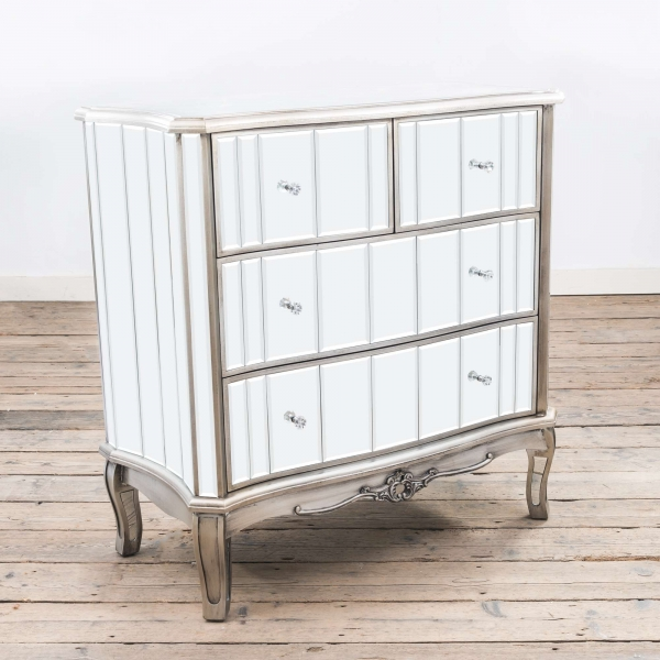 Annabelle Mirrored Chest of Drawers - Silver