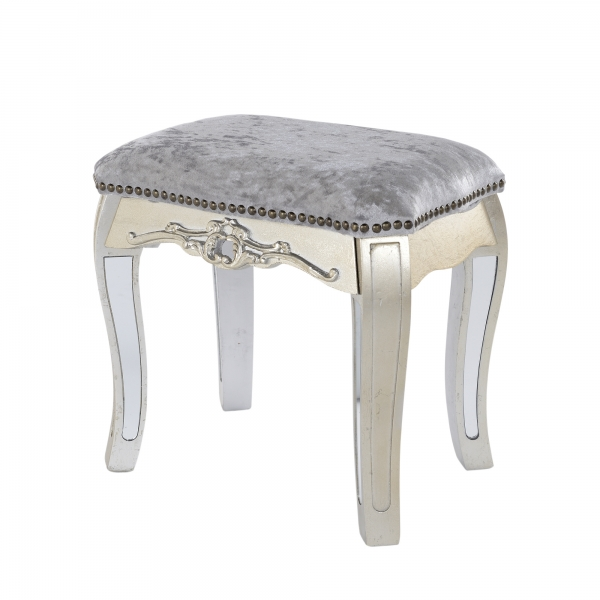 Annabelle Mirrored Dressing Table Stool - Silver Gilt Leaf