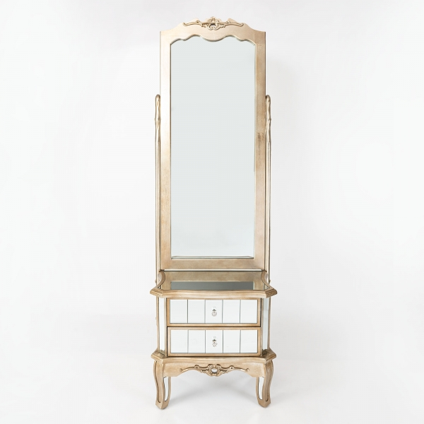 Annabelle Full Length Mirror - Champagne Silver Gilt Leaf