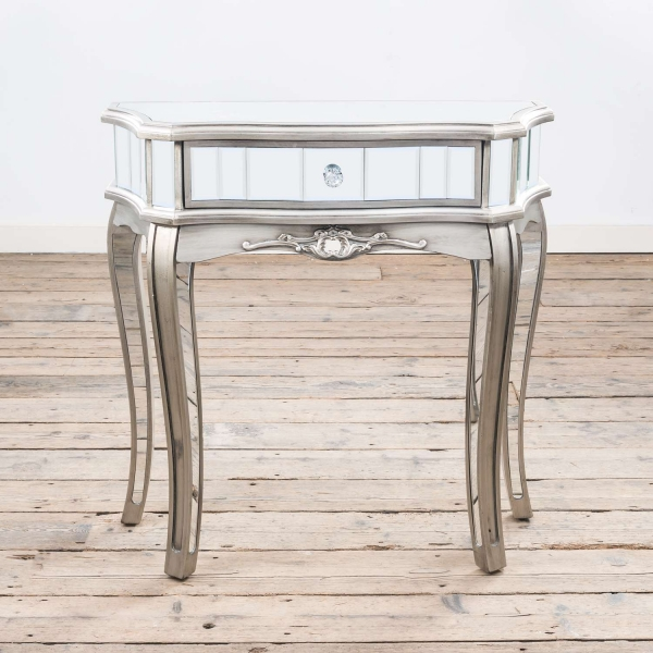 Annabelle Mirrored Dressing Table - Antique Silver