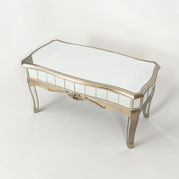 Annabelle Mirrored Coffee Table - Champagne Silver Gilt Leaf