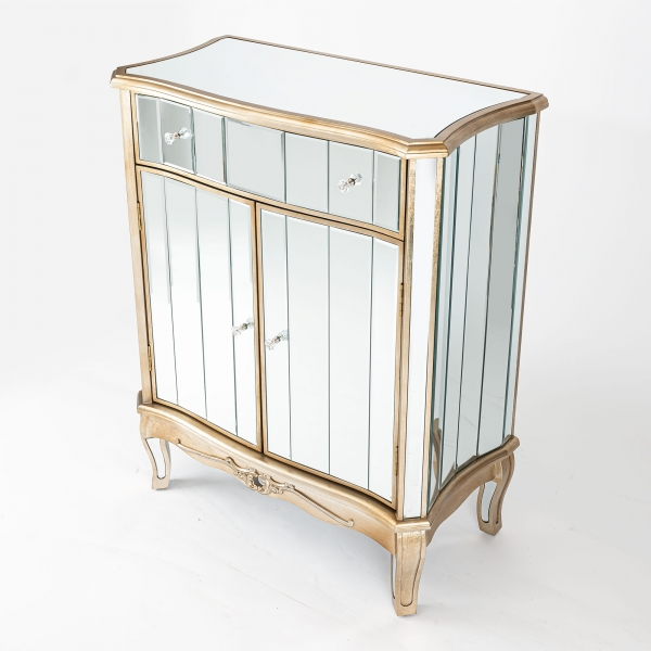 Annabelle Mirrored Sideboard Cabinet - Champagne Silver
