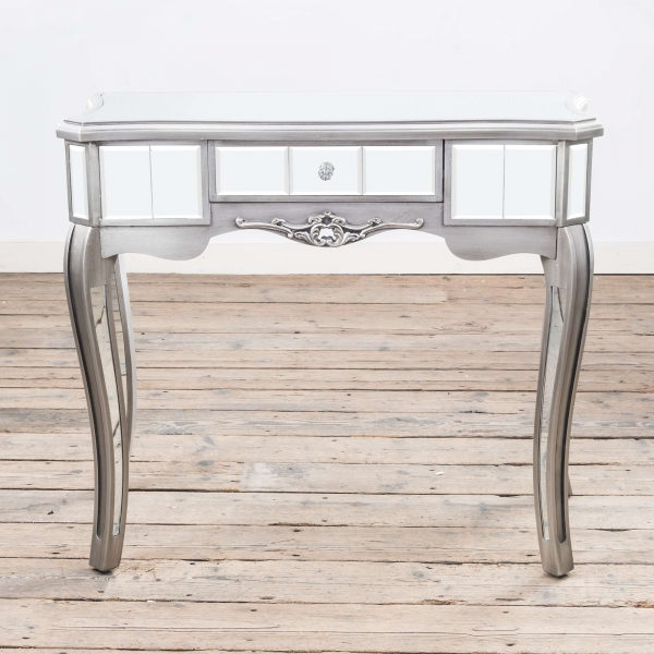 Annabelle Mirrored Console Dressing Table - Antique Silver