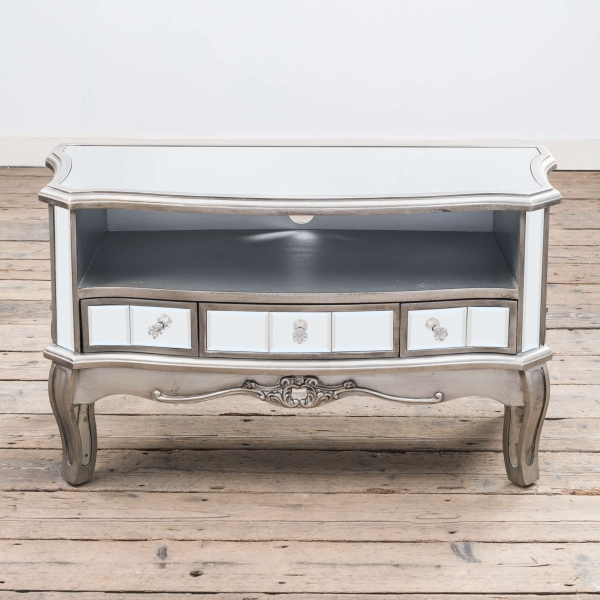 Annabelle Mirrored TV Media Unit - Antique Silver