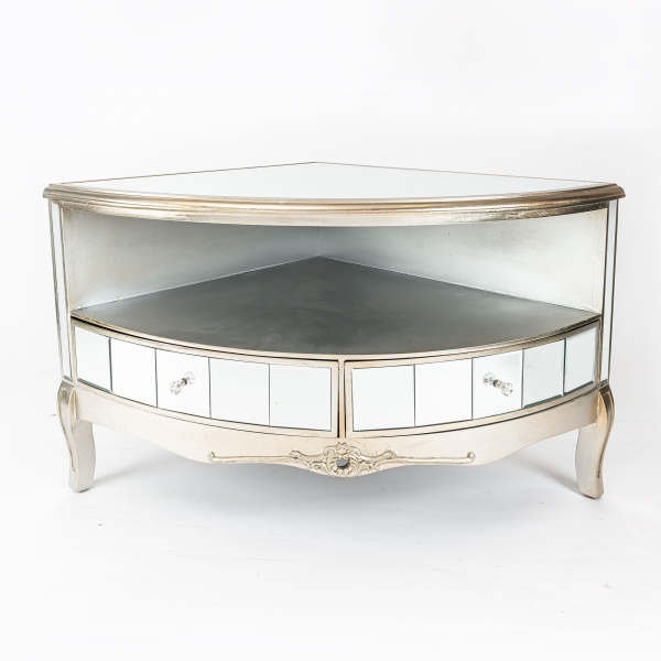 Annabelle Mirrored Corner TV Media Unit - Champagne Silver Gilt Leaf