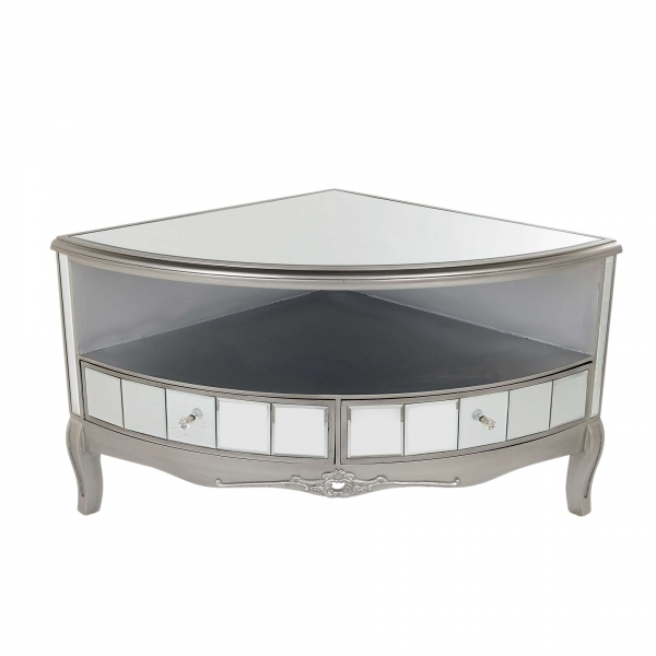 Annabelle Mirrored Corner TV Media Unit - Antique Silver