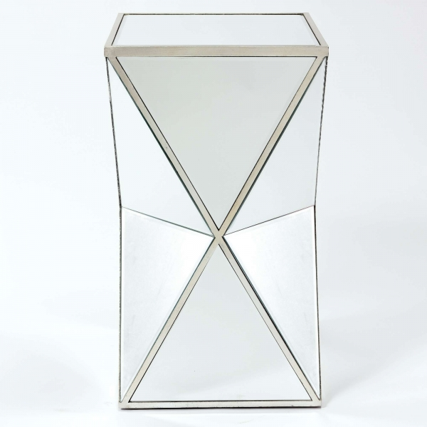 Vintage Venezia Mirrored Occasional Side Table - Antique Silver