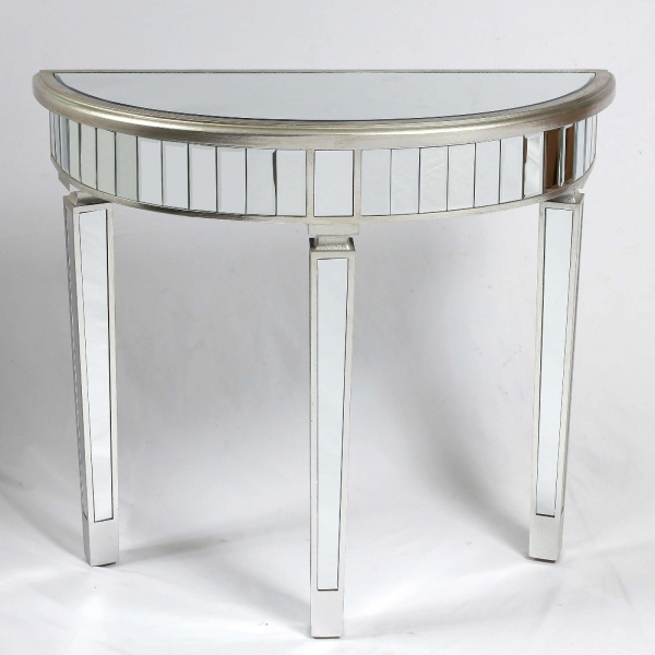 Genevieve Silver Half Moon Mirrored Table