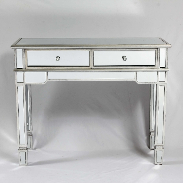 Genevieve Silver 2 Drawer Mirrored Console Table