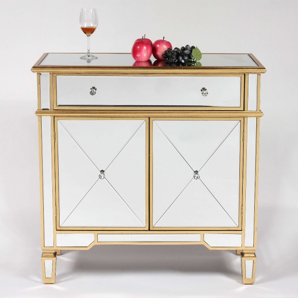 Genevieve Gold One Drawer Two Door Mirrored Cupboard