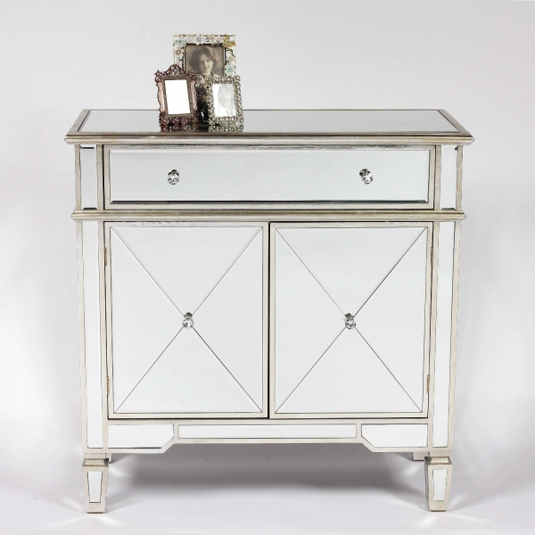 Genevieve Silver One Drawer Two Door Mirrored Cupboard