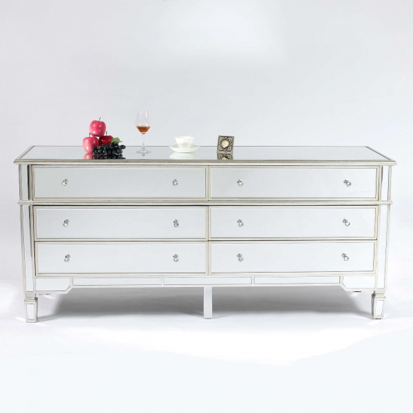 Genevieve Silver Six Drawer Mirrored Chest of Drawers