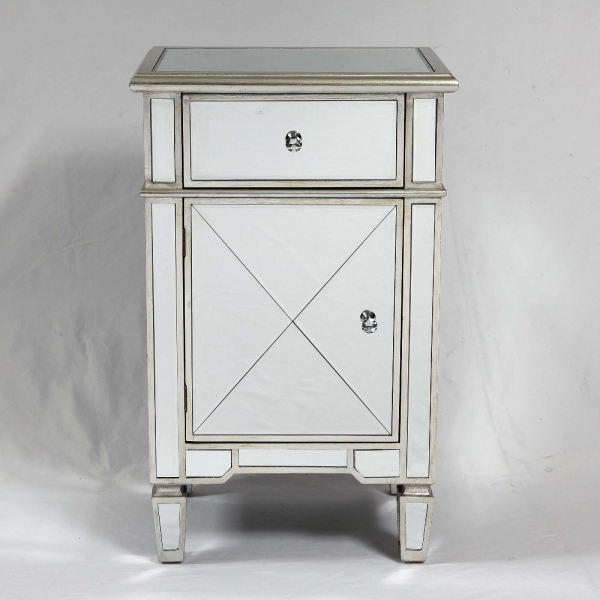 Genevieve Silver One Draw One Door Bedside