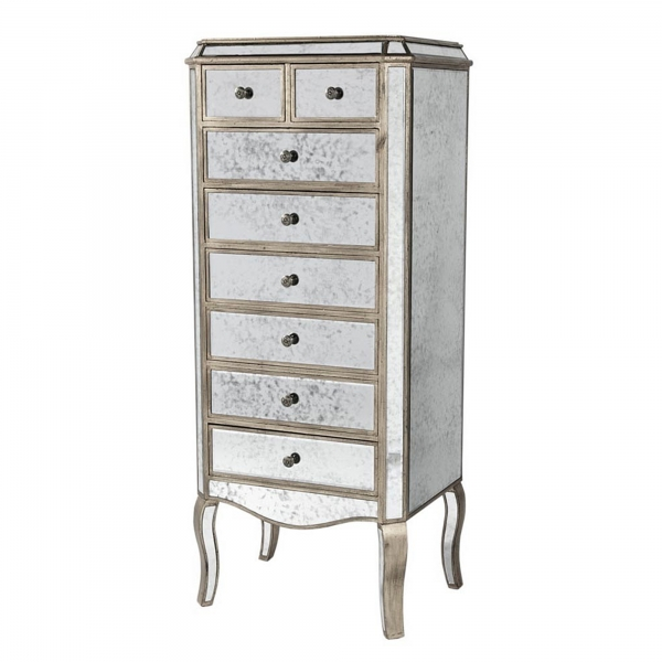 Vintage Venezia Mirrored Tallboy Chest of Drawers - Antique Silver