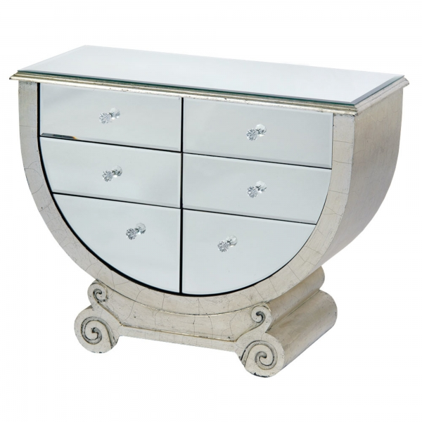 Art Deco Mirrored Chest of Drawers - Silver Gilt Leaf