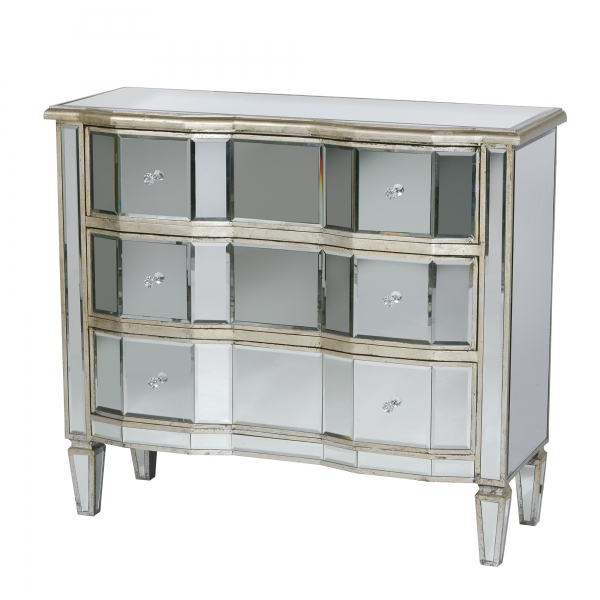 Vintage Venezia Mirrored Chest of Drawers - Antique Silver