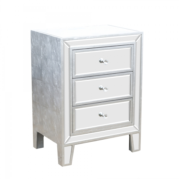 Argenti Mirrored Bedside Table - Silver Leaf