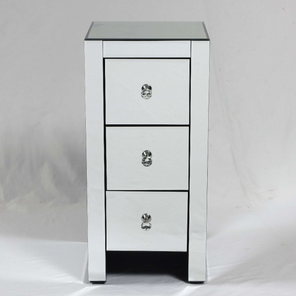 Mirrored Bedside Table With 3 Drawers
