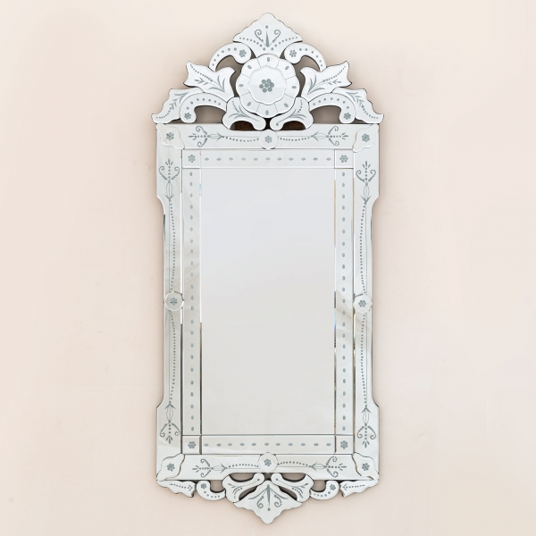 Large Venetian Mirror with Pattern Top