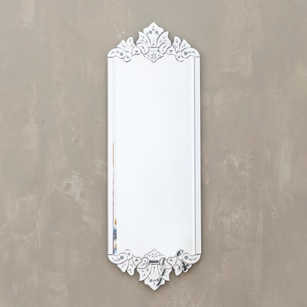 Venetian Modern Rectangular Mirror with Floral Top and Bottom