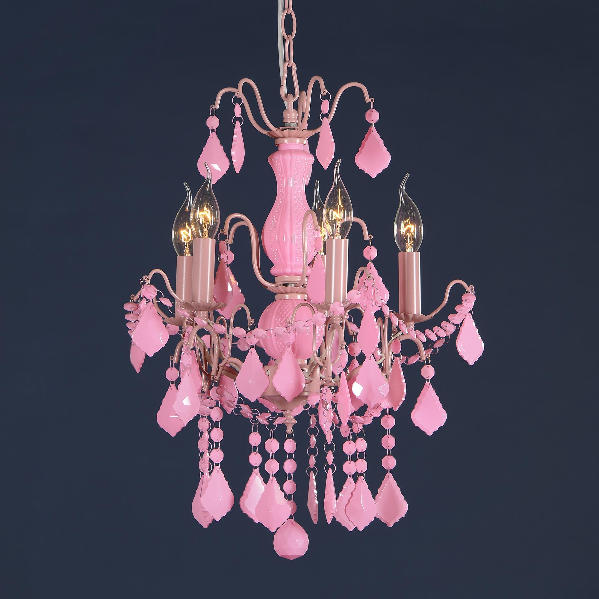 Charlotte 5 Light Chandelier - Pink