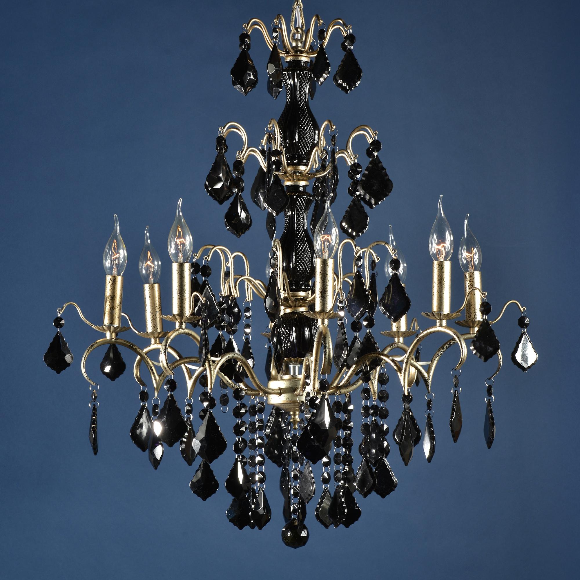 Charlotte 8 Light Chandelier - Silver and Black