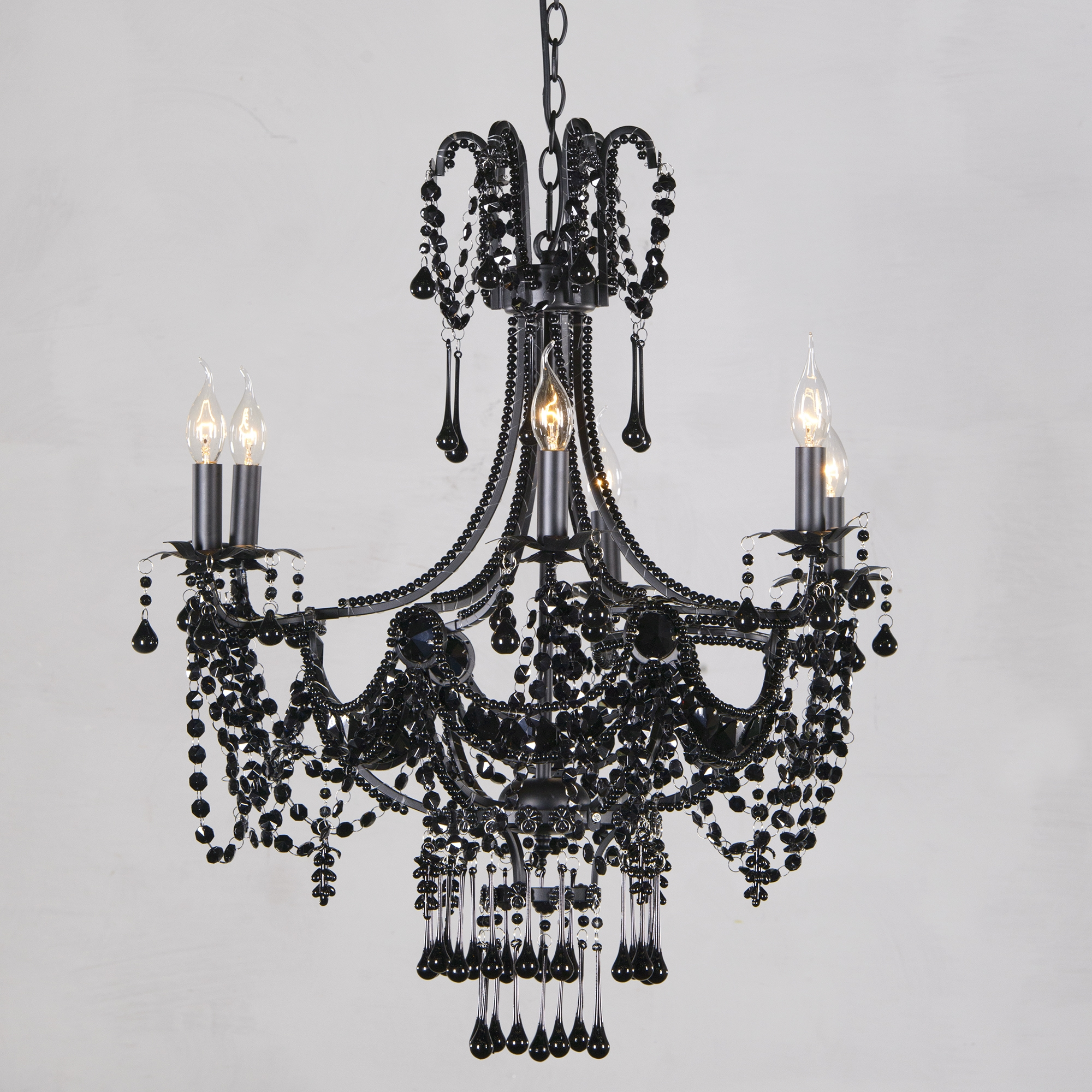 Marie Therese Lace 6 Light Chandelier - Black