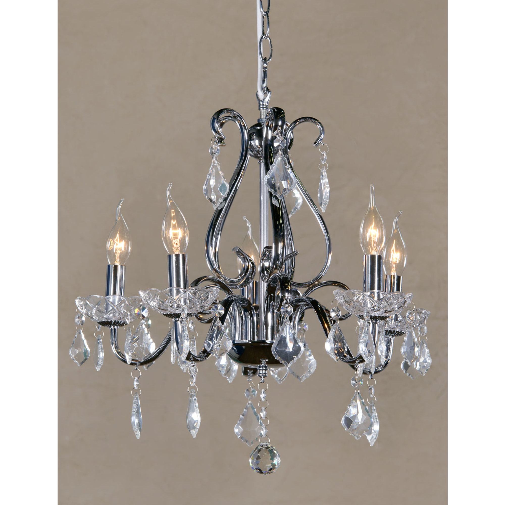 Vintage 5 Light Chandelier - Chrome and Clear