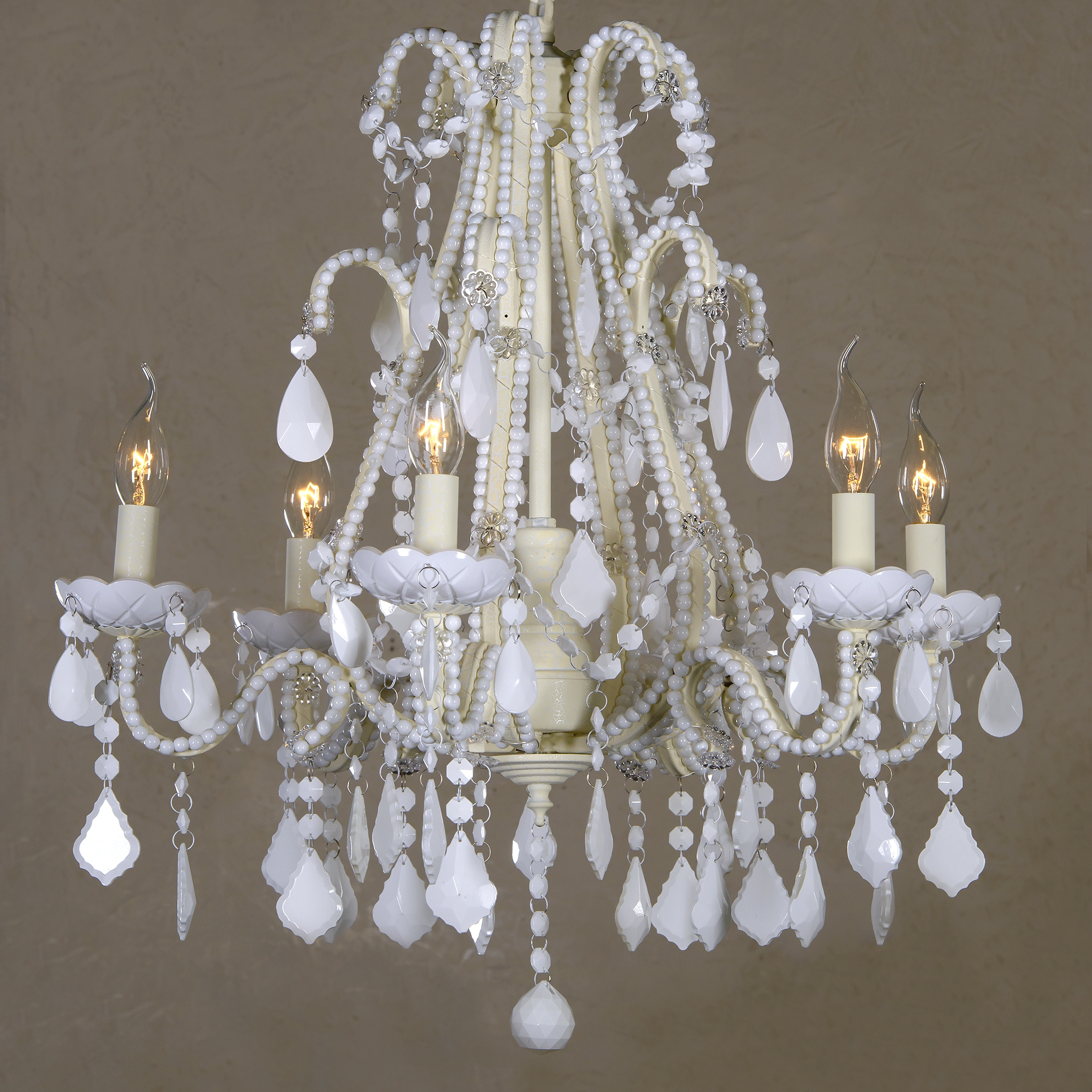 Marie Therese 6 Light Chandelier - Milky White