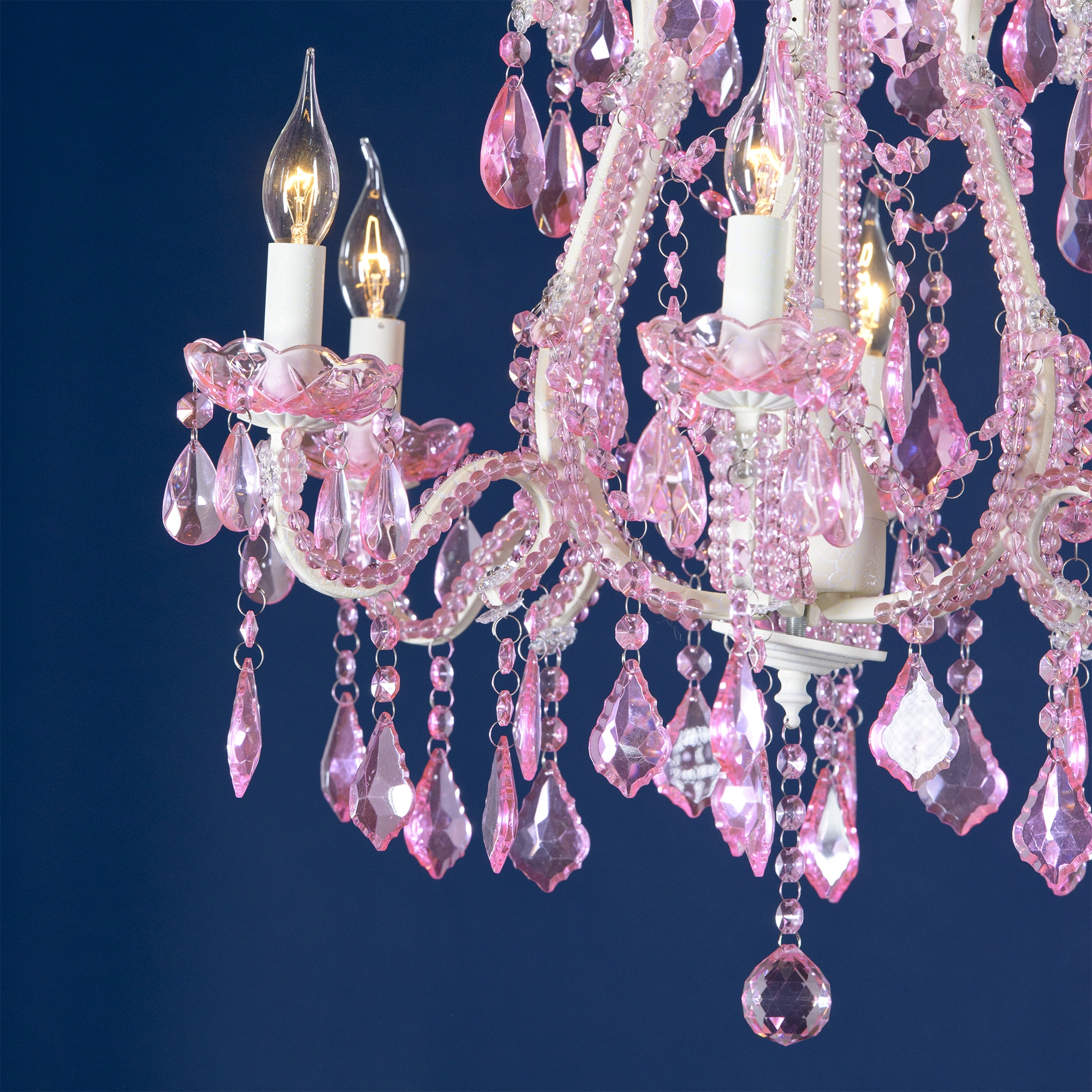 Marie Therese 6 Light Chandelier - Cream and Pink