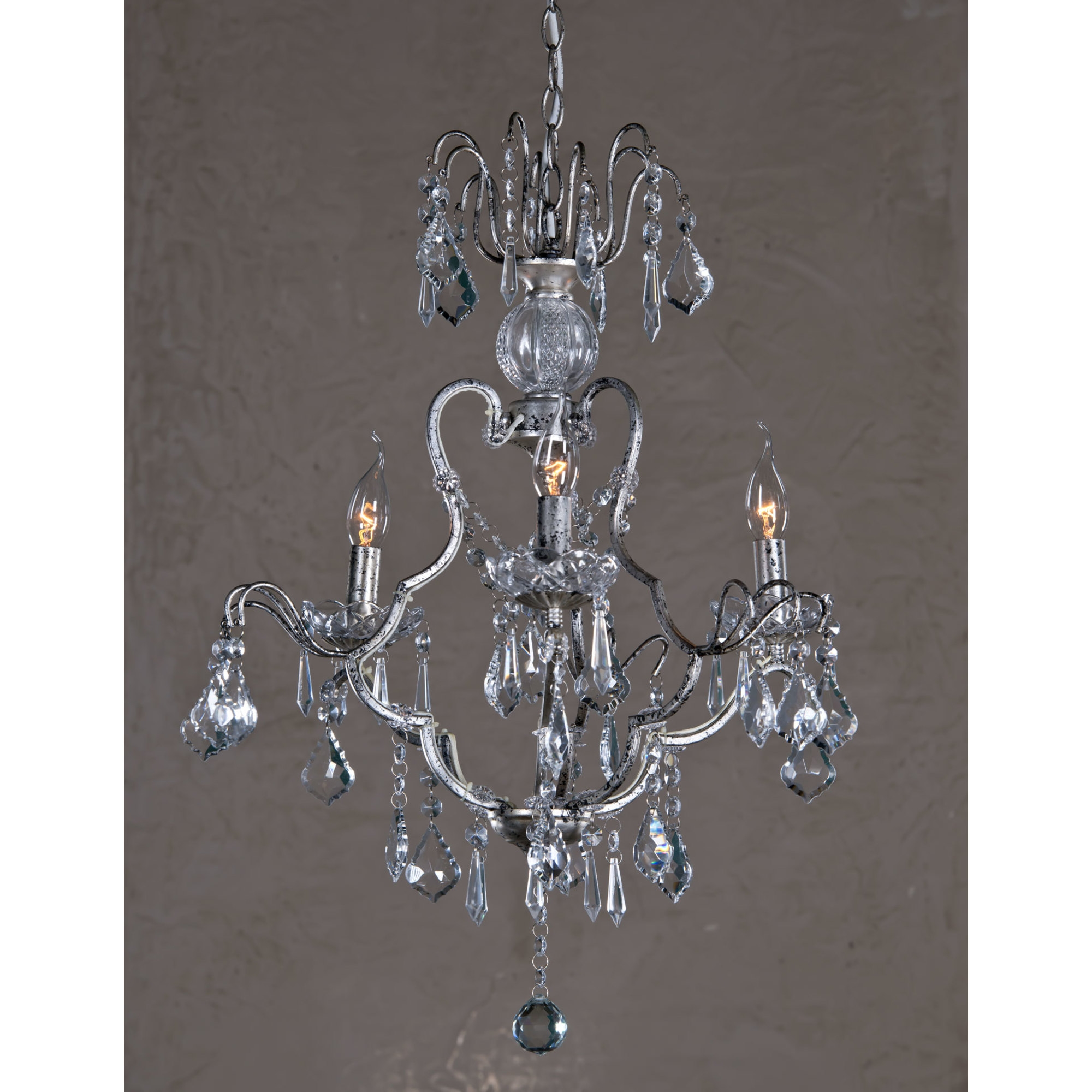 Vintage 3 Light Chandelier - Antique Silver and Clear