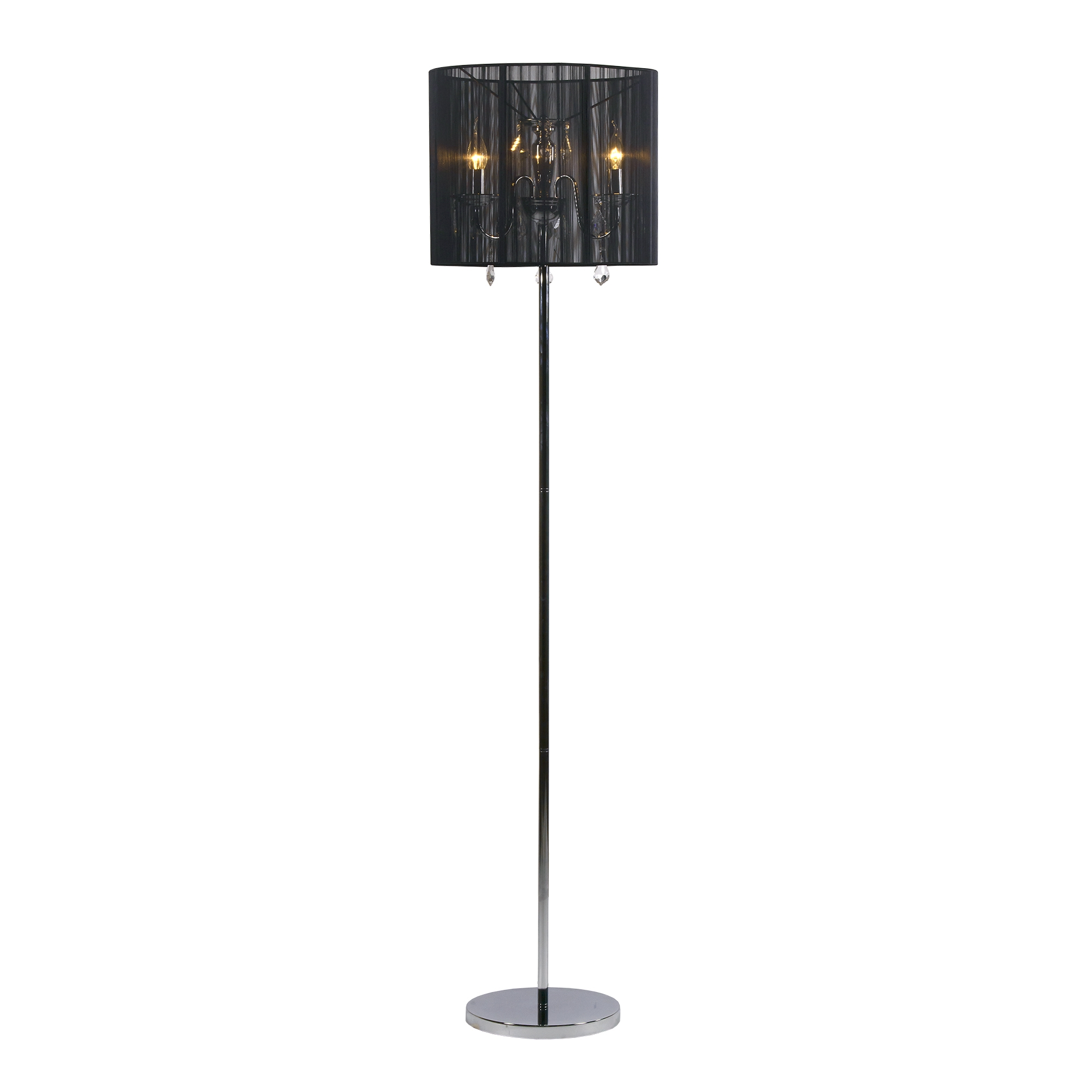 Contemporary Floor Lamp - Chrome and Black