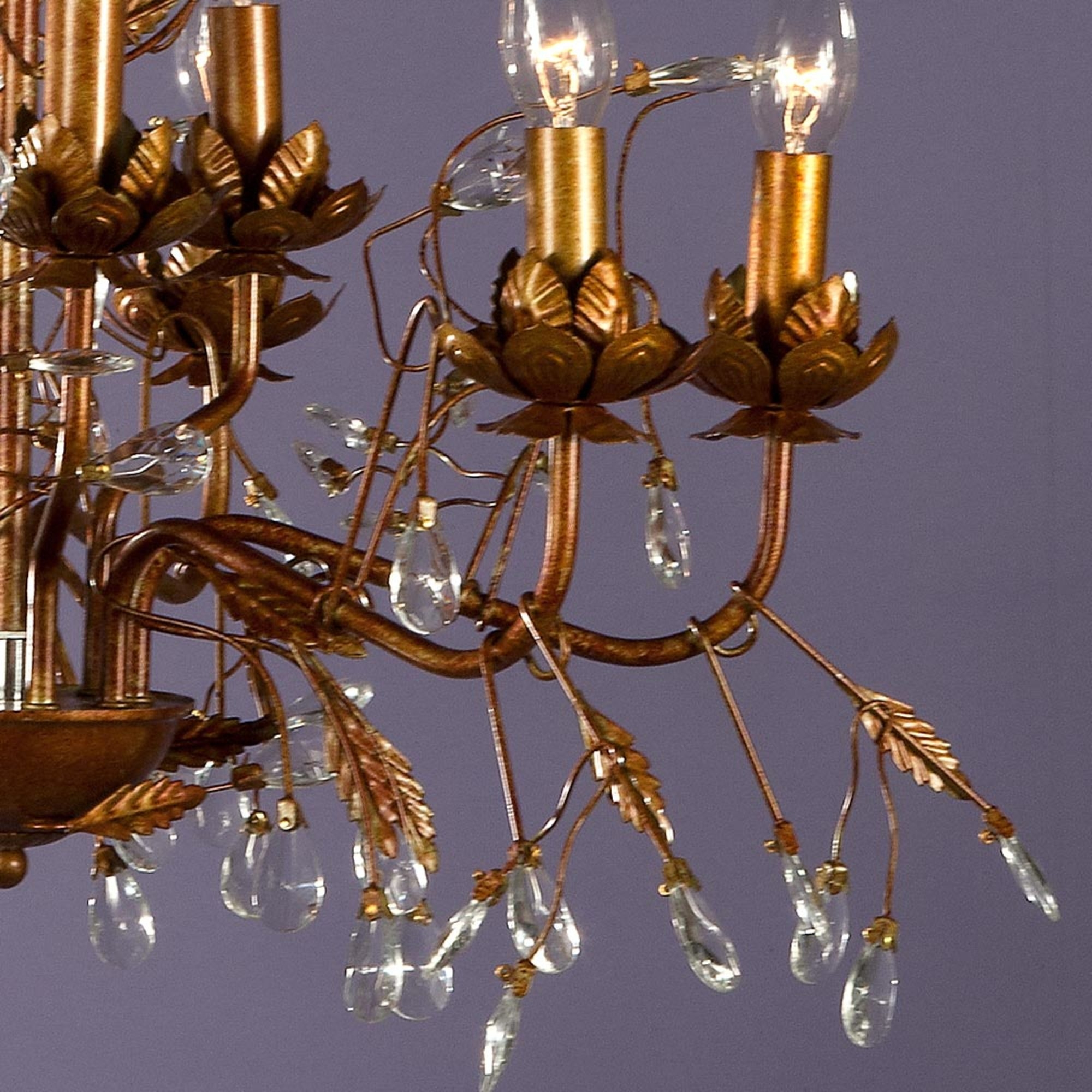 Floral 9 Light Chandelier - Antique Gold and Clear