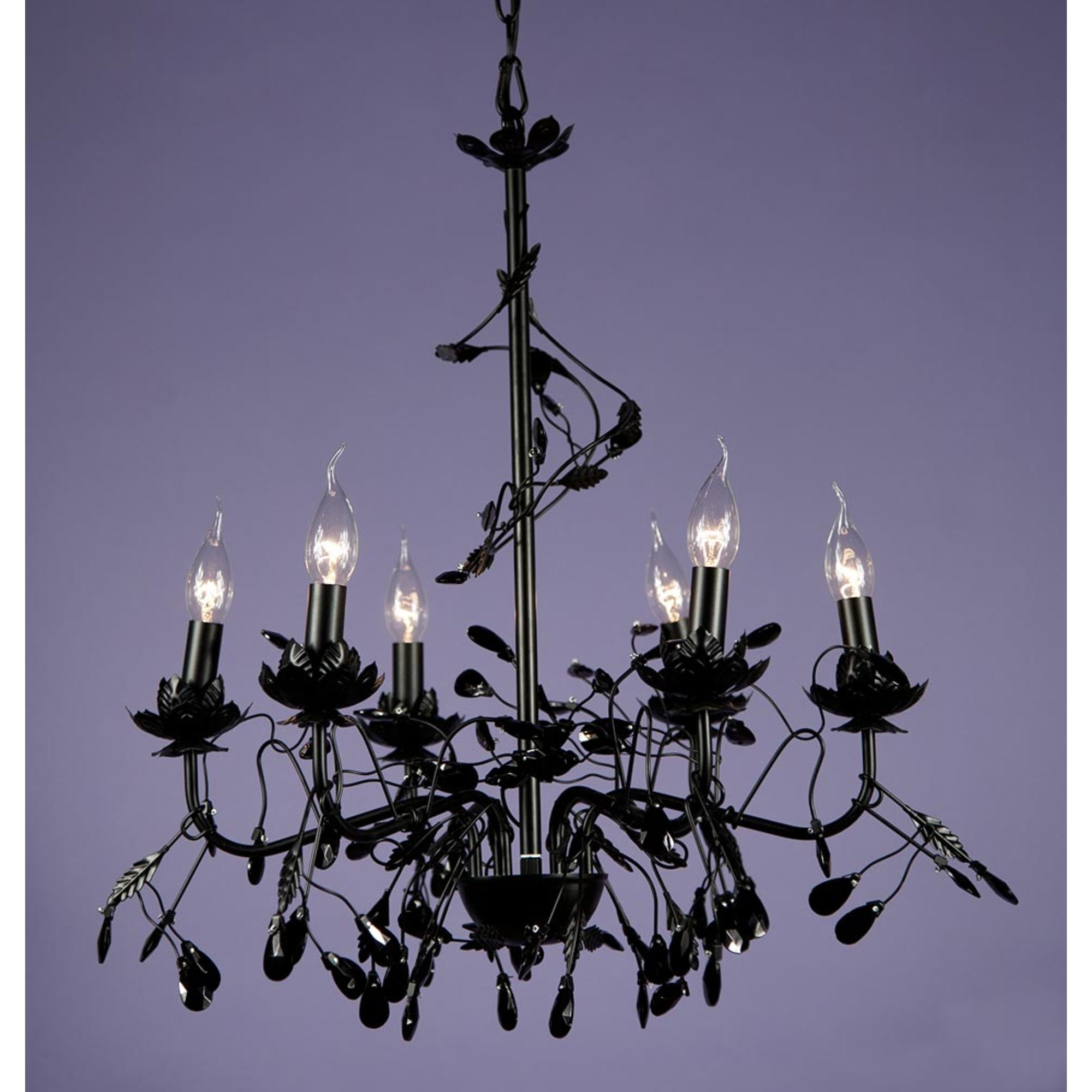 Floral 6 Light Chandelier - Black