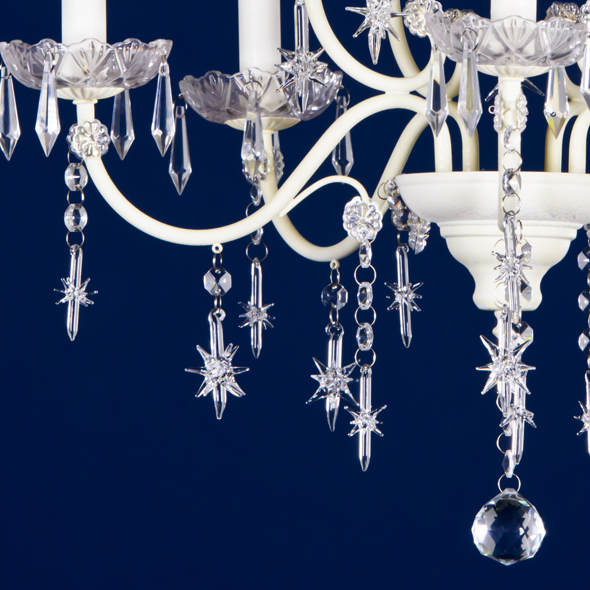 Star-Shaped Drops 5 Light Chandelier - Cream