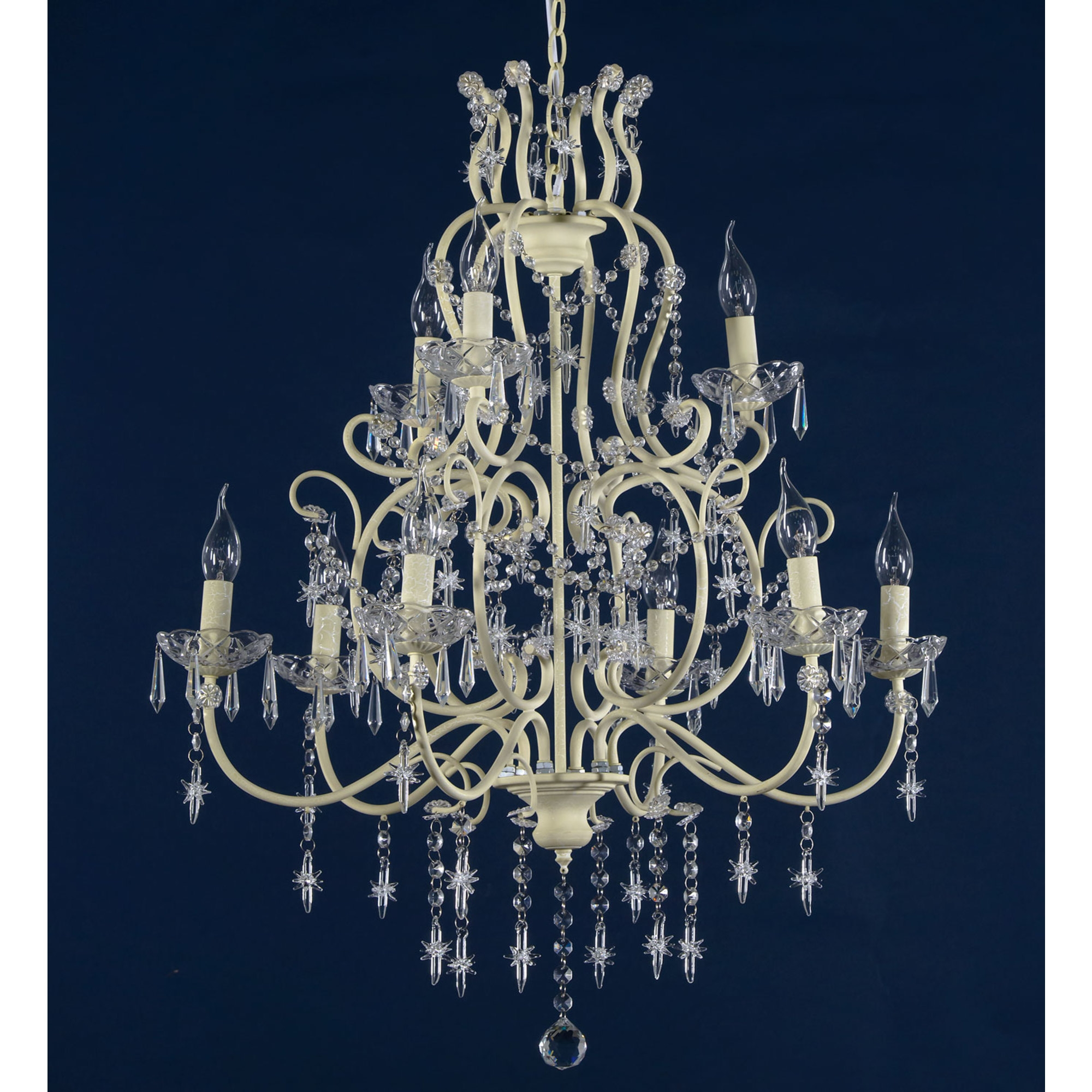 Star-Shaped Drops 9 Light Chandelier - Cream