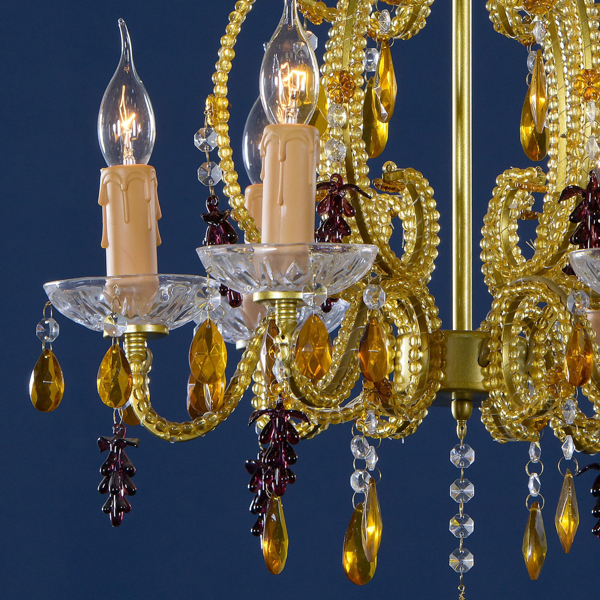 Vintage 6 Light Chandelier - Gold, Amber and Purple