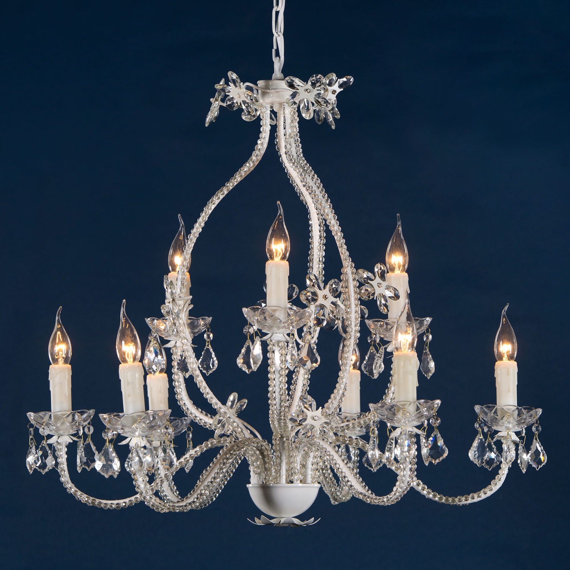 9 Light Chandelier - White and Clear