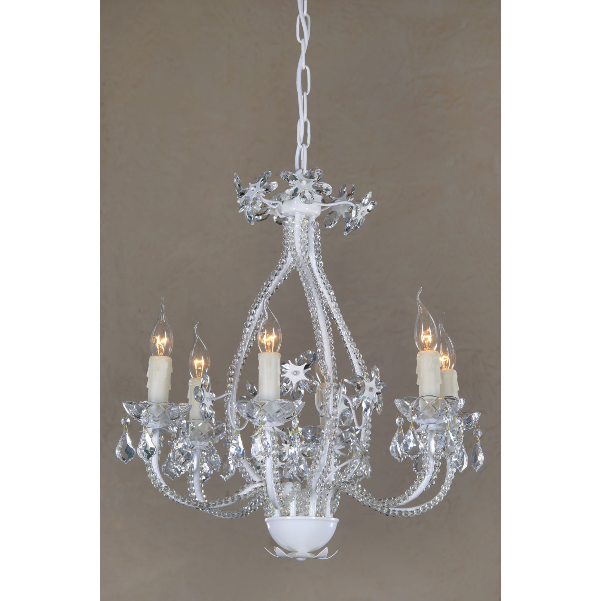 6 Light Chandelier - White Enamel and Clear
