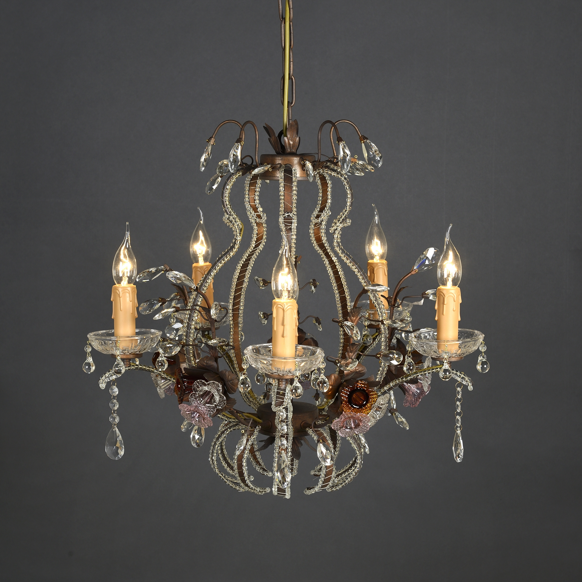 6 Light Chandelier - Bronze and Pink Mustard