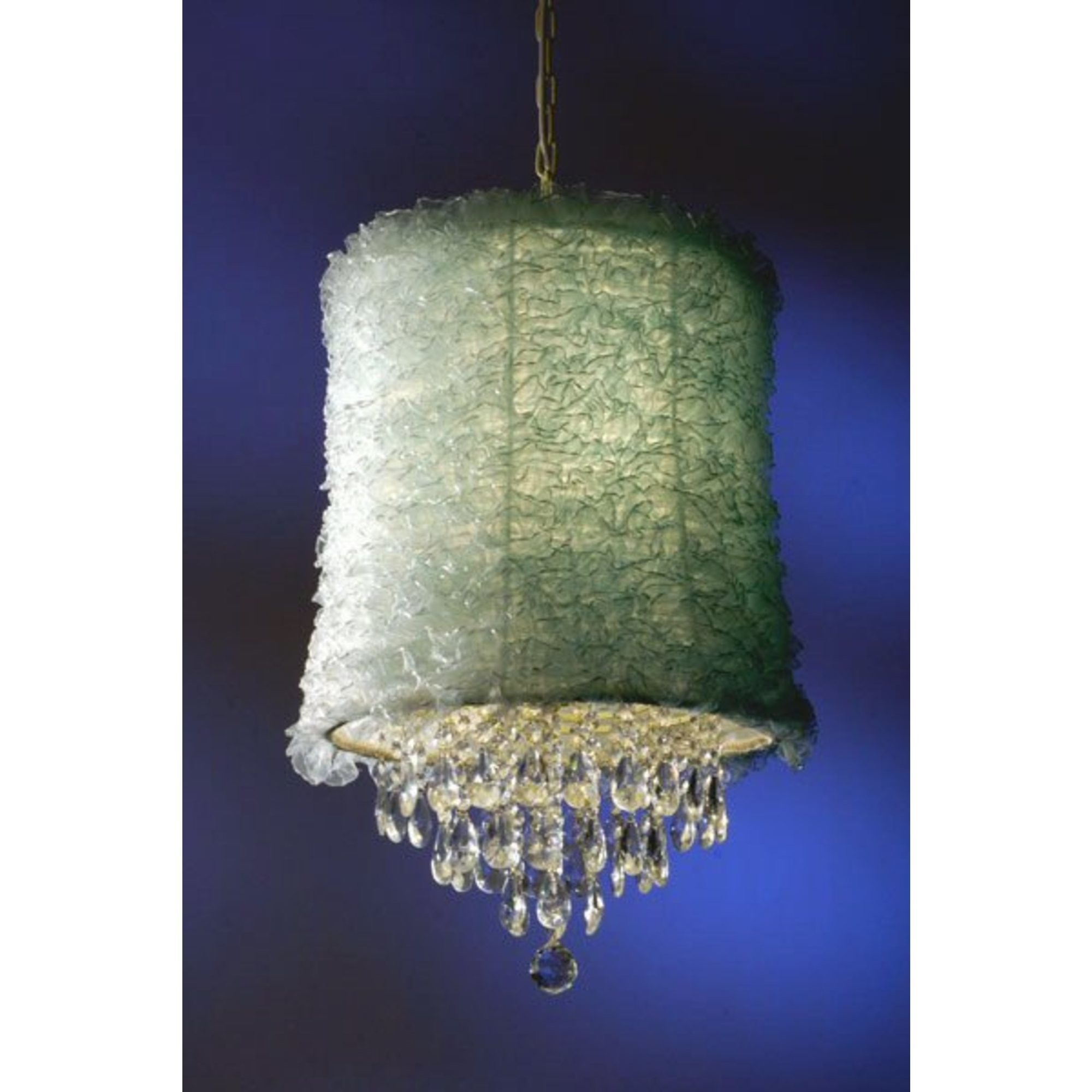 Shabby Chic Ruffle Shade 3 Light Chandelier - Cream and Blue