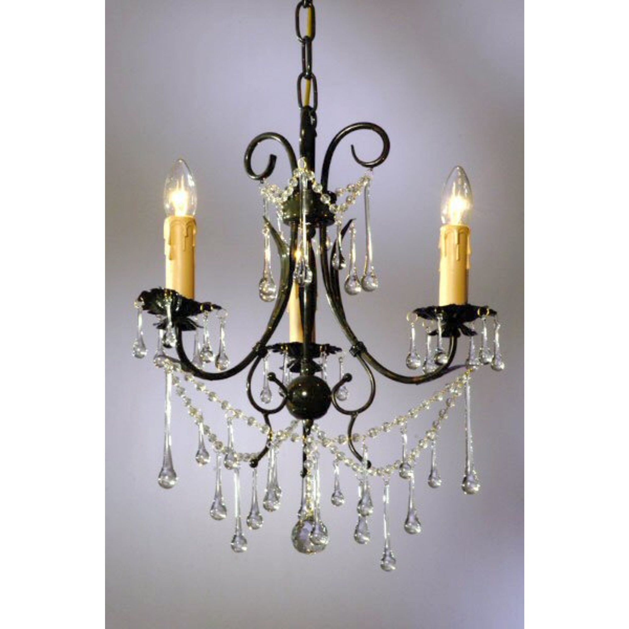 Vintage 3 Light Chandelier - Dark Green and Clear