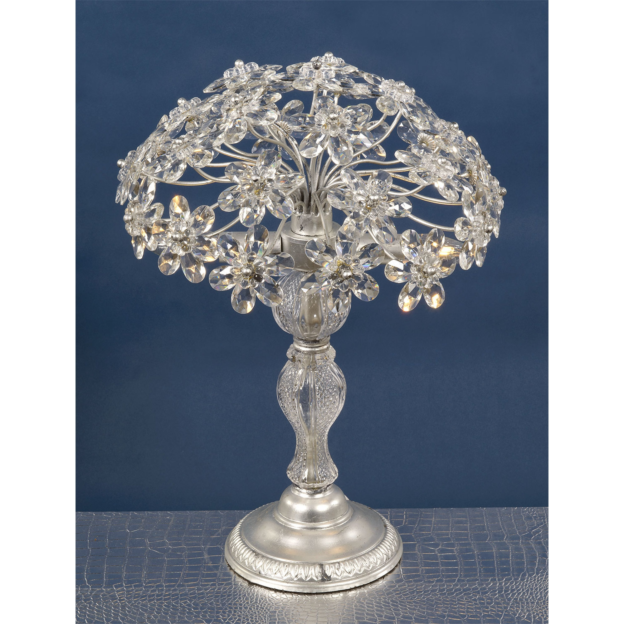 Flower Crystal Table Lamp - Silver and Clear