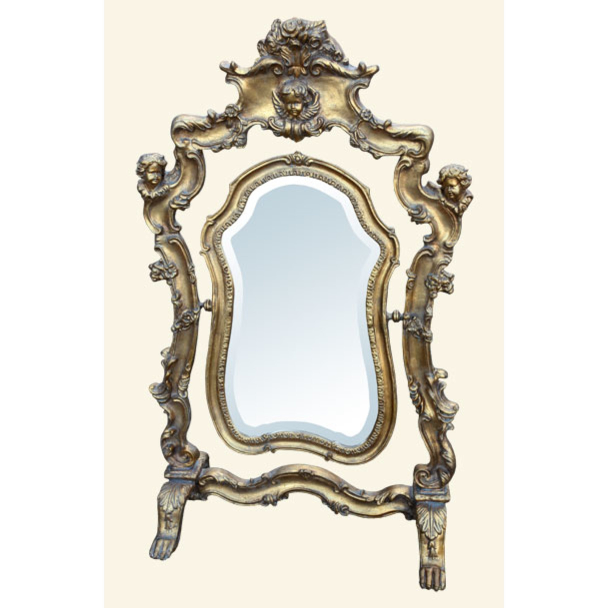 French Antique Gold Gilt Leaf Freestanding Table Swing Mirror with Cherubs